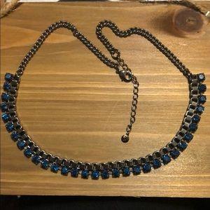 blue rhinestone and gunmetal necklace